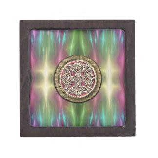 El arco iris enciende el nudo céltico de piedra caja de regalo de calidad
