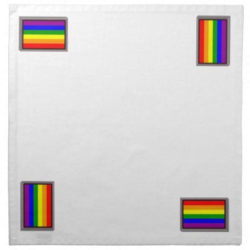 El arco iris enmarcado señala la servilleta por me