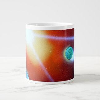 el arco iris estalló el pequeño sol de la pintura taza grande