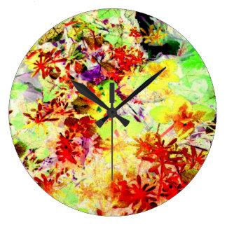 El arco iris florece la foto Acryllic moderno del  Relojes De Pared