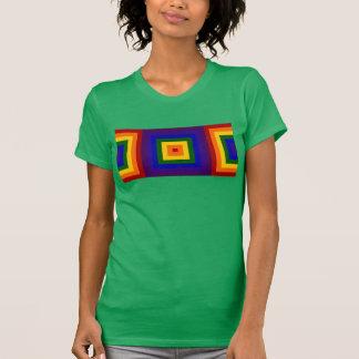 El arco iris geométrico ajusta la camiseta poleras