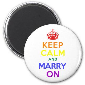El arco iris guarda calma y se casa encendido imán redondo 5 cm