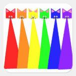 El arco iris Meows los pegatinas Calcomania Cuadradas Personalizadas