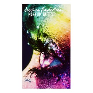 El arco iris observa al artista de maquillaje plantilla de tarjeta de visita