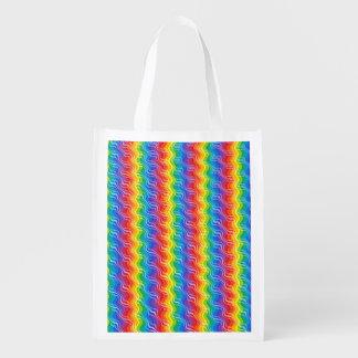 El arco iris ondula el bolso de ultramarinos bolsas para la compra