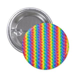 El arco iris ondula el botón pin redondo de 1 pulgada