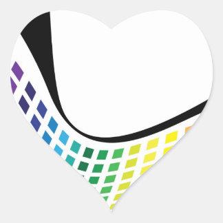 El arco iris ondulado ajusta la disposición pegatina en forma de corazón