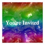 El arco iris psicodélico gelatinado exuda invitación 13,3 cm x 13,3cm