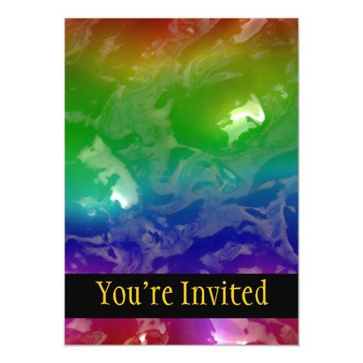 """El arco iris psicodélico gelatinado exuda invitación 5"""" x 7"""""""