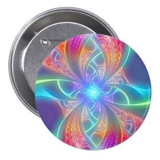 El arco iris psicodélico remolina modelo del fract pin redondo de 3 pulgadas