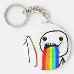 El arco iris Puke la cara cómica Llavero