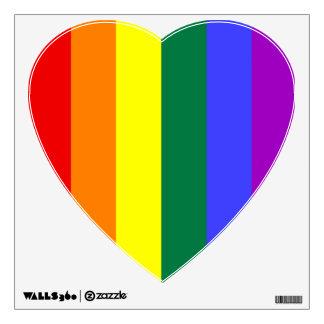 El arco iris raya el corazón vinilo adhesivo