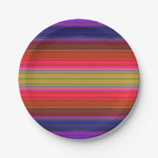 El arco iris raya las placas de papel plato de papel de 7 pulgadas
