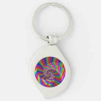El arco iris raya llavero espiral del fractal llavero plateado en forma de espiral