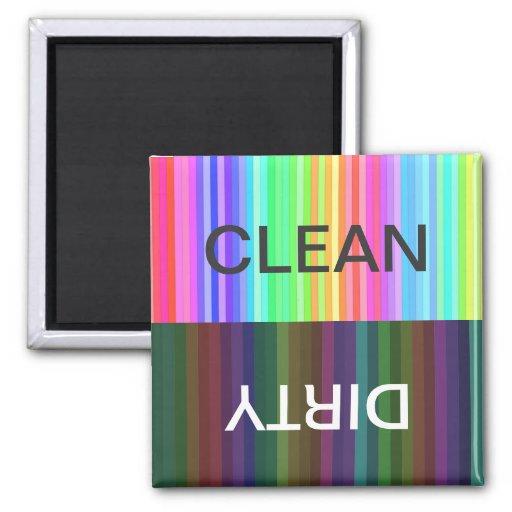 el arco iris rayado limpia/sucio imán cuadrado