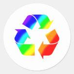 El arco iris recicla la muestra pegatina redonda