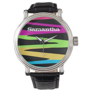 El arco iris retro salvaje colorea rayas de la relojes de mano