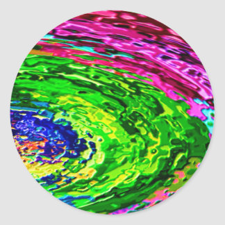 El arco iris rico agita V7 Pegatina Redonda