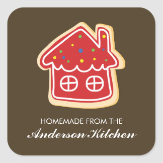 El arco iris rojo de la casa asperja la galleta pegatina cuadrada