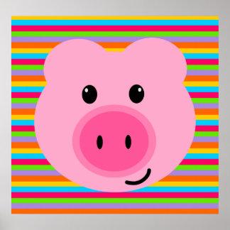 El arco iris rosado lindo del cerdo raya el poster