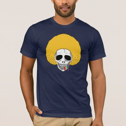 El arco iris rubio A del Afro sonriente del cráneo Playera