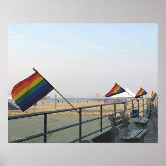 El arco iris señala el parque NJ de Asbury por med Poster