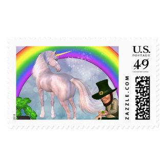 El arco iris soña unicornio timbres postales