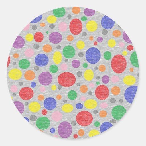 El arco iris transparente burbujea los pegatinas etiqueta redonda