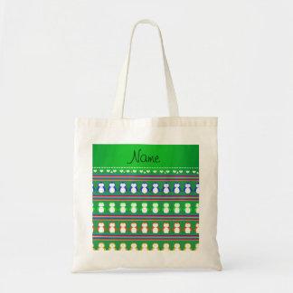 El arco iris verde conocido personalizado raya bolsa tela barata
