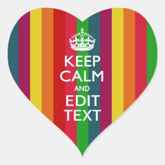 El arco iris vibrante guarda calma y su pegatina en forma de corazón