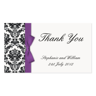 El arco púrpura con damasco le agradece las tarjet plantilla de tarjeta personal