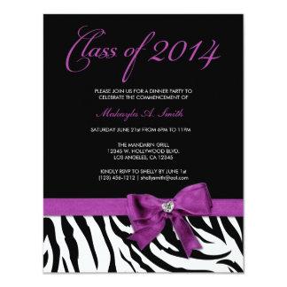 El arco púrpura con la cebra raya la clase de 2014 invitacion personal