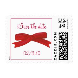 El arco rojo de la cinta, ahorra la fecha, sello