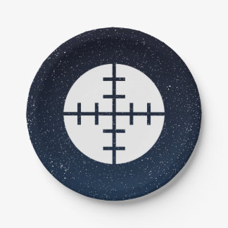 El arma apunta el pictograma plato de papel de 7 pulgadas