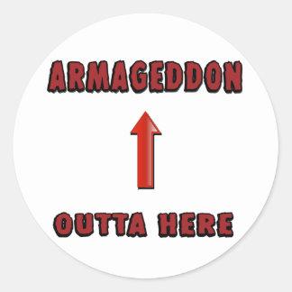 El Armageddon Outta aquí termina mercancía de las Pegatina Redonda