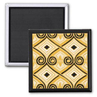 El art déco hace Persia (amarillo y el negro) Imán Cuadrado