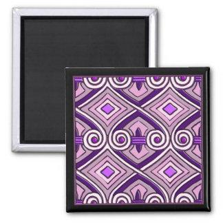El art déco hace Persia (las púrpuras brillantes) Imán Cuadrado