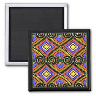 El art déco hace Persia (multicolores brillantes) Imán Cuadrado
