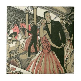 El art déco que se casa, recienes casados del azulejo cuadrado pequeño