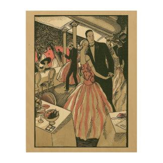 El art déco que se casa, recienes casados del cuadros de madera