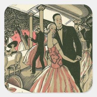 El art déco que se casa, recienes casados del pegatina cuadrada