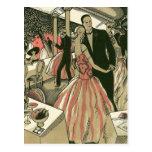 El art déco que se casa, recienes casados del postales