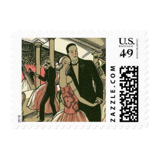 El art déco que se casa, recienes casados del timbres postales