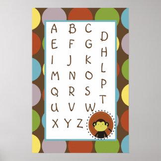 el arte ABC del cuarto de niños 16x24 traza safari Póster