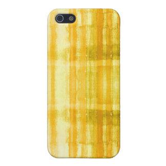 El arte abstracto amarillo raya la caja del iPhone iPhone 5 Funda