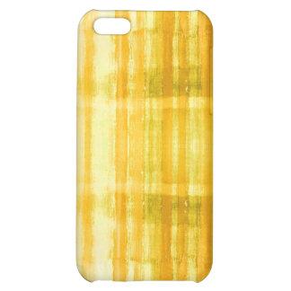 El arte abstracto amarillo raya la caja del iPhone