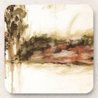 El arte abstracto ambiguo del paisaje gotea la posavaso
