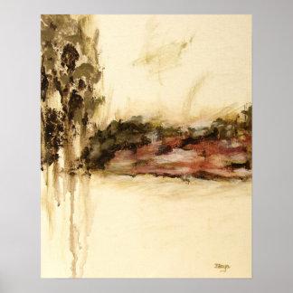 El arte abstracto ambiguo del paisaje gotea la póster