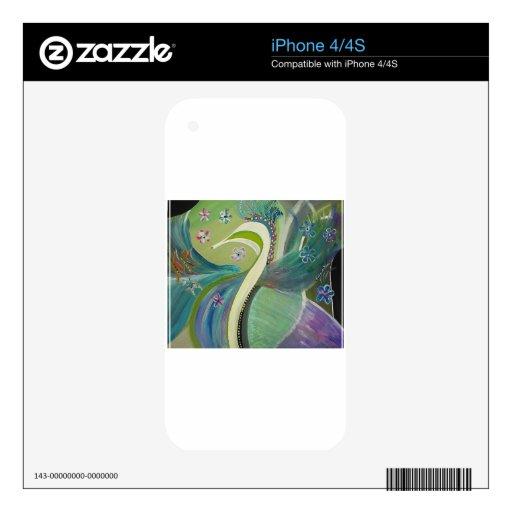 El arte abstracto del pavo real del boda iPhone 4S calcomanía
