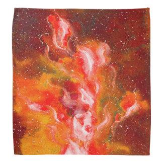 El arte abstracto flamea tono naranja rojo bandana
